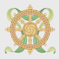 otto simboli di buon auspicio - ruota del dharma